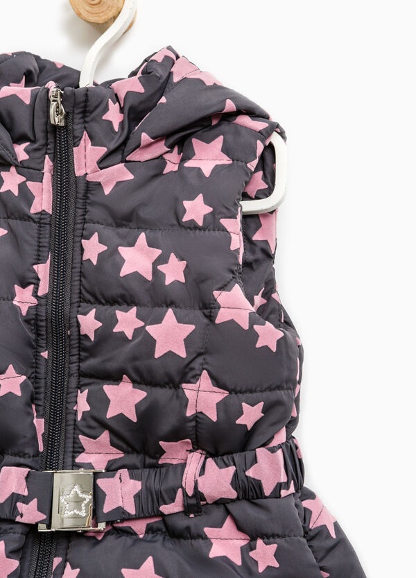 Quilted patterned gilet with high collar | OVS