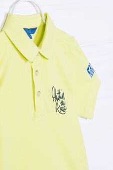 100% cotton polo shirt with printed lettering, Yellow, hi-res