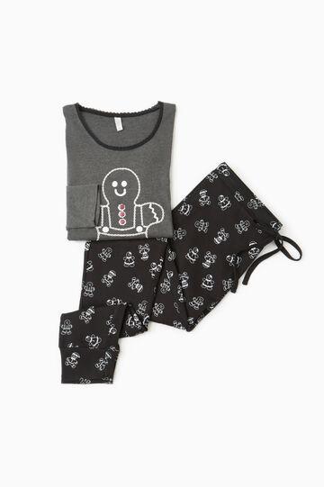 Pyjamas with marzipan man print, Slate Grey, hi-res