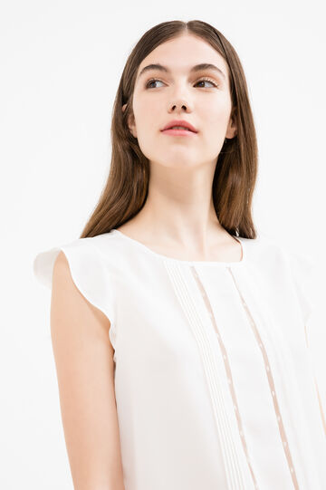 Blouse with cap sleeves., Off-white, hi-res