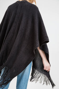 Solid colour cape with fringe, Black, hi-res