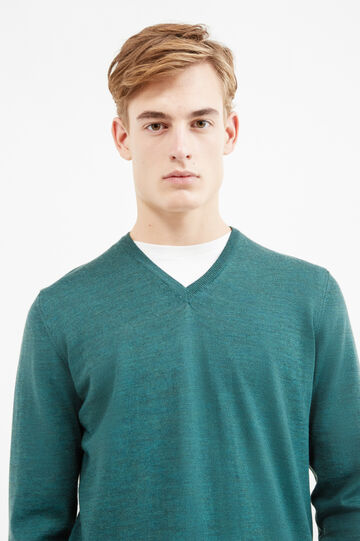 Solid colour pullover in 100% merino wool, Green, hi-res
