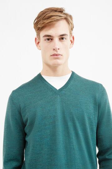Pullover pura lana merino tinta unita, Verde, hi-res