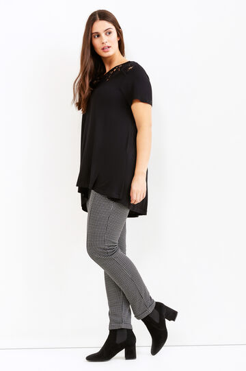 Leggings stretch fantasia Curvy, Nero/Grigio, hi-res