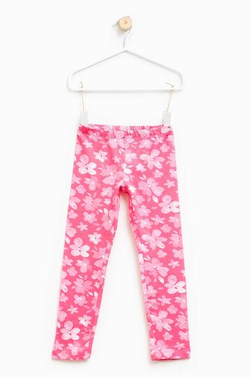 Stretch cotton flower leggings, Fuchsia, hi-res