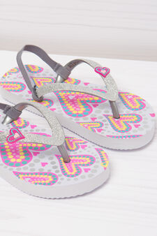 Printed thong sandals with glitter band, White, hi-res