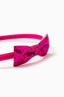 Hairband with bow, Fuchsia, hi-res
