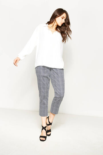 Curvy stretch trousers with print, White/Blue, hi-res