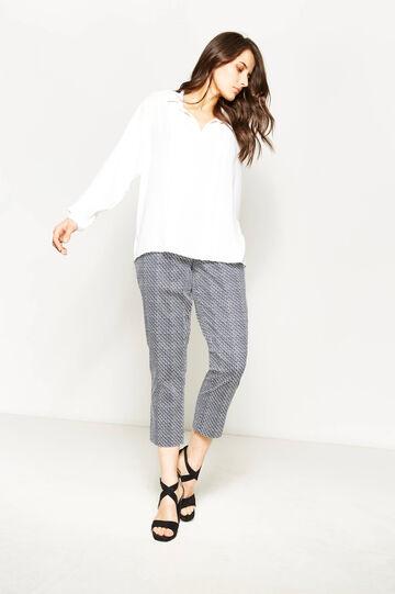 Pantaloni stretch con stampa Curvy, Bianco/Blu, hi-res