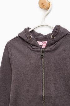 Solid colour 100% cotton sweatshirt, Dark Grey, hi-res