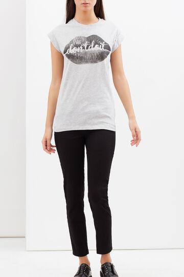 T-shirt con stampa fotografica e lettering, Grigio, hi-res