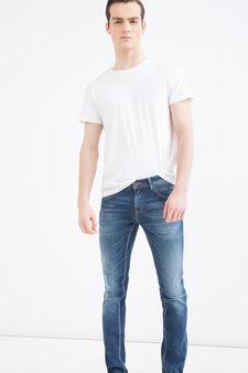 Delavé-effect slim-fit stretch jeans, Denim, hi-res