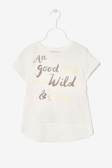T-shirt with asymmetrical hem., Milky White, hi-res