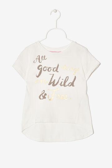 T-shirt with asymmetrical hem., Milky White, hi-res