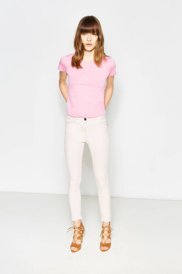 Crop trousers with fringed hem, Pink, hi-res