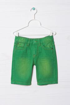 Five-pocket solid colour Bermuda shorts, Green, hi-res
