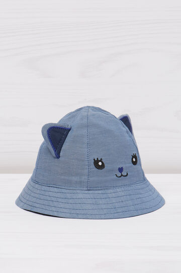 Fishing hat with cat embroidery