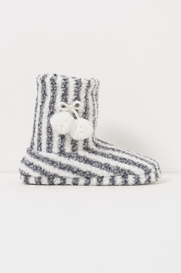 Pantofole stivaletti a righe, Bianco/Nero, hi-res