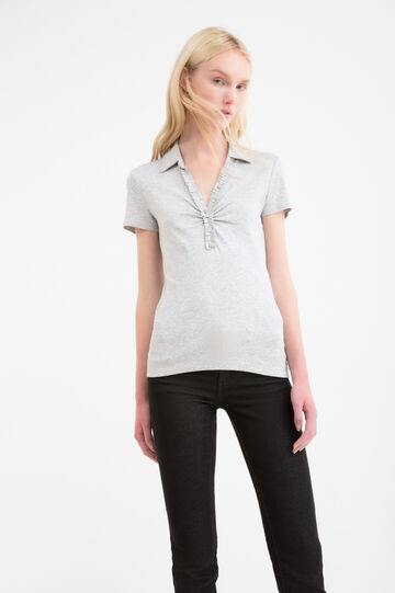Polo shirt in 100% cotton with rhinestone buttons, Grey, hi-res