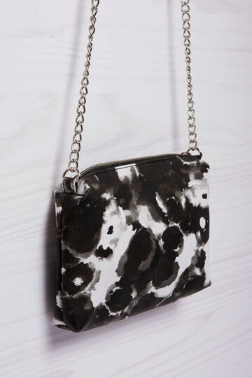 Leather look patterned clutch bag, Black/White, hi-res