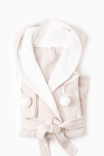 Fleece dressing gown with pompoms, Beige, hi-res