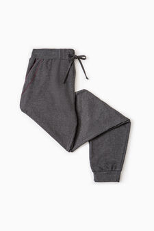 Pyjama trousers in 100% cotton, Dark Grey Marl, hi-res