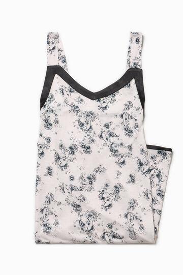 Patterned stretch cotton nightshirt, Black/Beige, hi-res