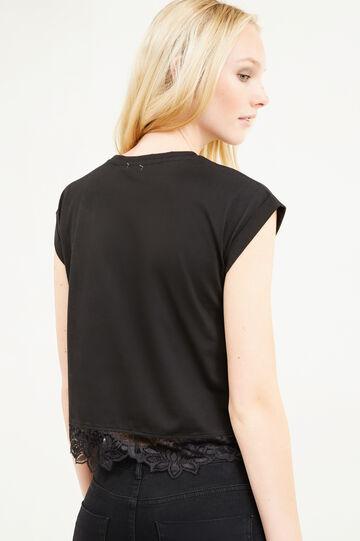 T-shirt crop cotone con pizzo e ricami, Nero, hi-res