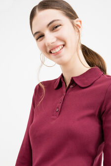 Polo shirt in 100% cotton with long sleeves, Aubergine, hi-res
