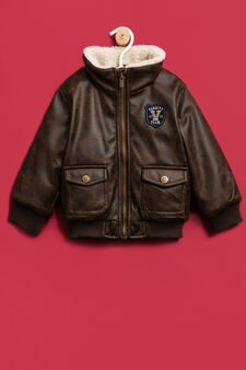 Jacket with faux fur collar, Brown, hi-res