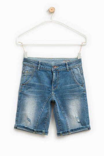 Worn-effect stretch denim Bermuda shorts, Denim, hi-res