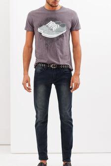 T-shirt con stampa a contrasto, Grigio, hi-res