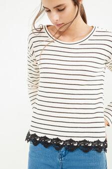 T-shirt tricot cotone rigato con pizzo, Bianco/Nero, hi-res