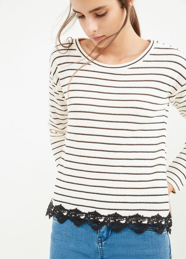 Cotton knitted T-shirt with striped design and lace | OVS