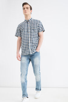 Check shirt in 100% cotton, Blue/Brown, hi-res