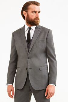 Elegant, regular-fit suit in wool blend, Grey, hi-res