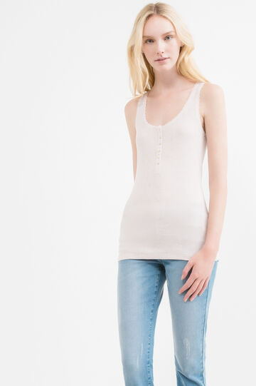 Long top with ribbing and buttons, Powder Pink, hi-res