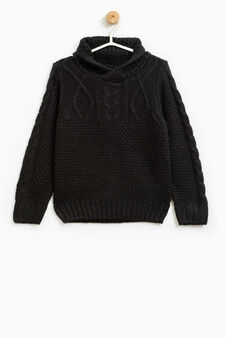 Knitted pullover with high neck, Black, hi-res