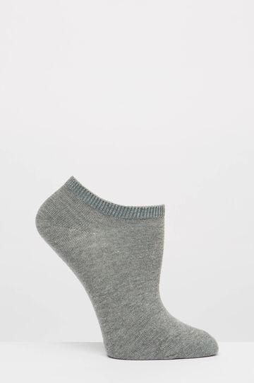 Three-pair pack solid colour short socks, Black/Grey, hi-res