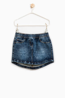 Stretch denim skirt with studs, Indigo Blue, hi-res