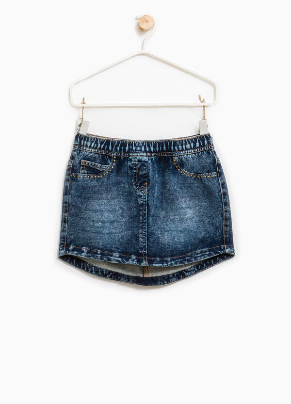Stretch denim skirt with studs | OVS