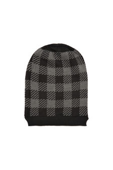Check beanie cap, Black/Grey, hi-res