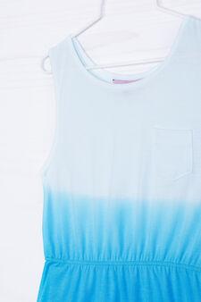 Cotton blend sleeveless dress, White, hi-res