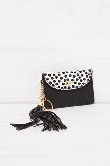 Polka dot pattern keyring, Black/White, hi-res