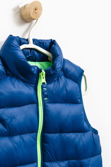 Padded waistcoat with contrasting zip, Blue/Green, hi-res