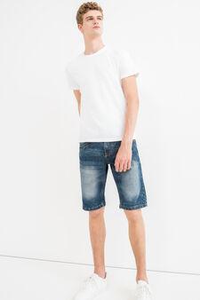 Slim-fit stretch denim Bermuda shorts, Dark Wash, hi-res