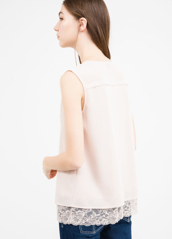 Sleeveless blouse with lace insert | OVS