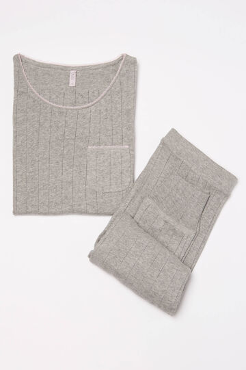 Stretch cotton pyjamas with pocket, Grey Marl, hi-res