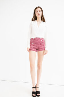 High waisted patterned stretch shorts, Red, hi-res