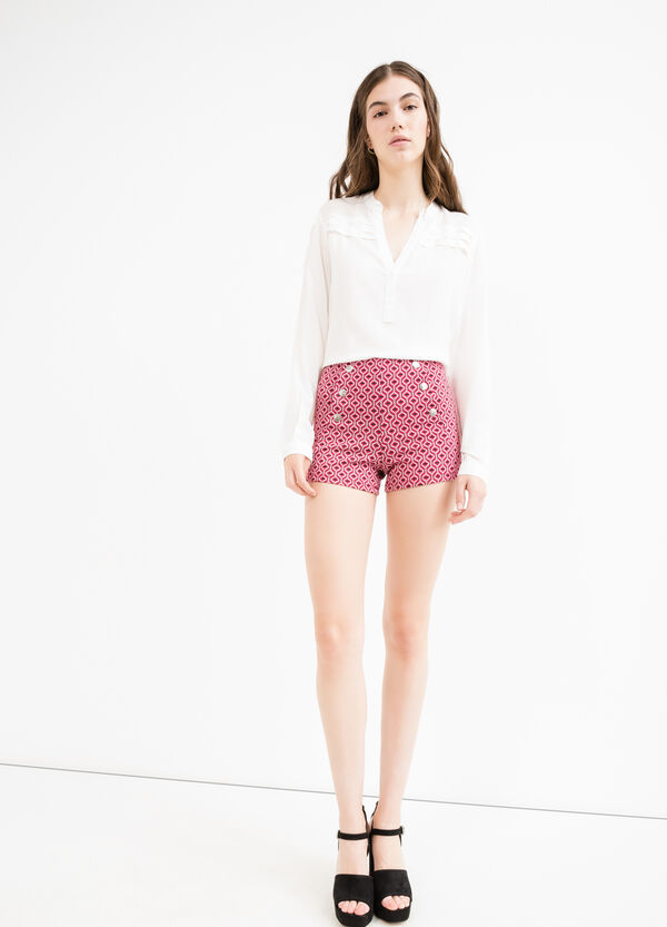 High waisted patterned stretch shorts | OVS